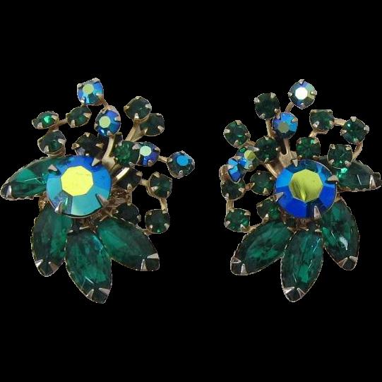 Unsigned Beau Jewels Green and Green AB Rhinestone Earrings Beaujewels