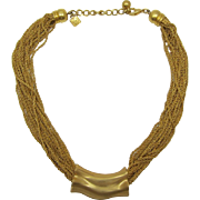 Signed Anne Klein Bright Brushed Gold-tone Necklace