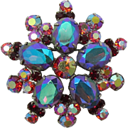 Gorgeous DeLizza and Elster Juliana Red Aurora Borealis Brooch