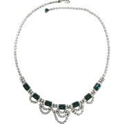 Emerald Green and Clear Rhinestone Necklace - LAST CHANCE