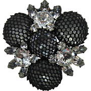 Striking Kramer Japanned Brooch with Black Netting and Clear Rhinestones - LAST CHANCE