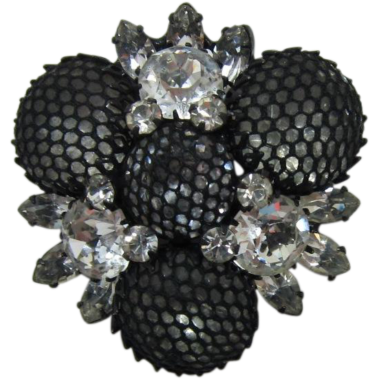 Striking Kramer Japanned Brooch with Black Netting and Clear Rhinestones
