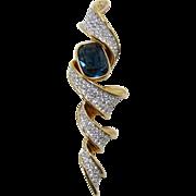 Elegant and Large Swarovski Modernist Brooch with Blue Rhinestone