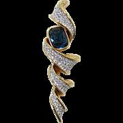 Elegant Swarovski Modernist Brooch with Blue Rhinestone