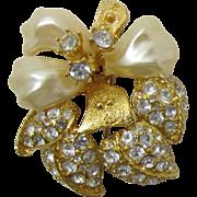 Nolan Miller Imitation Pearl Orchid Flower Brooch