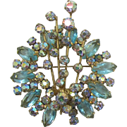 DeLizza and Elser Juliana Aquamarine Navette Spray Brooch