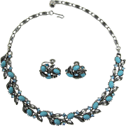Lisner Aqua Cabochon and Aquamarine Rhinestone Necklace and Earring Set
