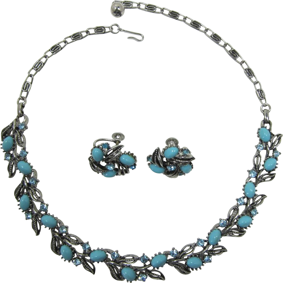 Lisner Aqua Cabochon and Aquamarine Rhinestone Necklace and Earring Set