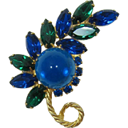 DeLizza and Elster Juliana High-Domed Teal Feather Brooch