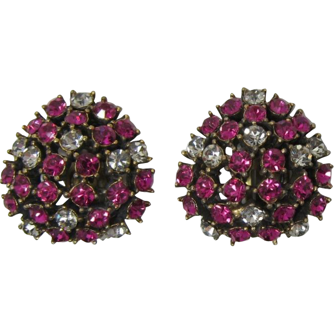 Hot Pink and Black Diamond Domed Earrings