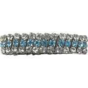 Sparkling Expandable Link Bracelet with Clear and Aquamarine Rhinestones