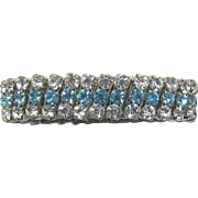 Expandable Link Bracelet with Clear and Aquamarine Rhinestones