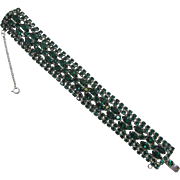 Sparkling 1950's Deep Emerald-Green Navette Rhinestone Bracelet