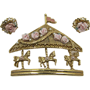 1928 Jewelry Co. Flowered Carousel Brooch and Earring Set