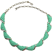 Mint Green Ribbed Thermoplastic Necklace Signed Star