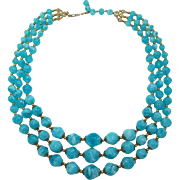 Coro Chunky Three Strand Swirled Aqua Beaded Necklace