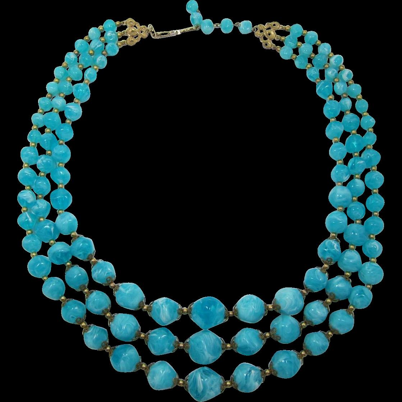 Coro Chunky Three Strand Swirled Aqua Beaded Necklace