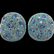 Weiss Aqua Thermoplastic Earrings with Blue Rhinestones