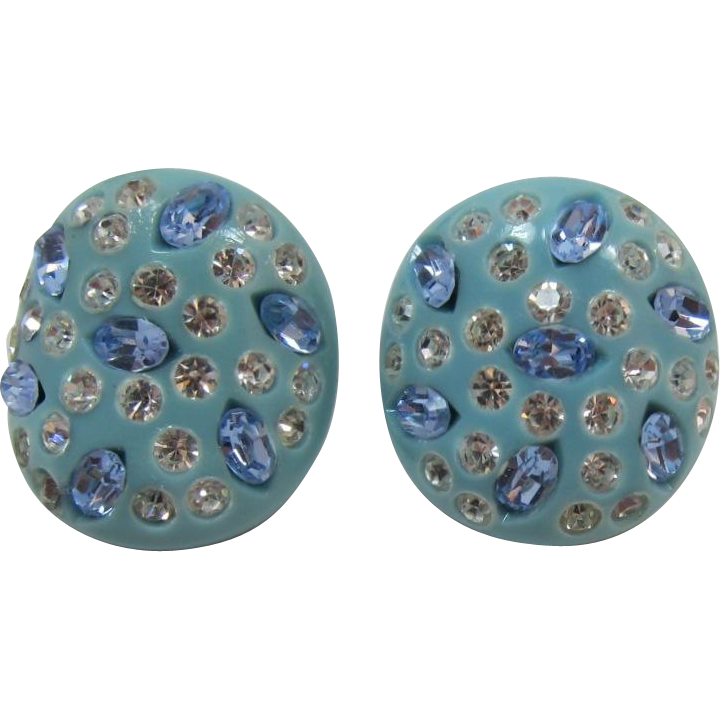 Weiss Aqua Thermoplastic Earrings with Blue Rhinestones