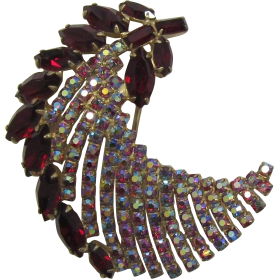 Large Ruby-Red and AB Rhinestone Feather Brooch