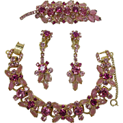 DeLizza and Elster Juliana Pink Rhinestone Bracelet, Brooch and Dangling Earrings