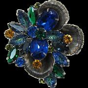 Gorgeous Blue, Green and Topaz Rhinestone Brooch