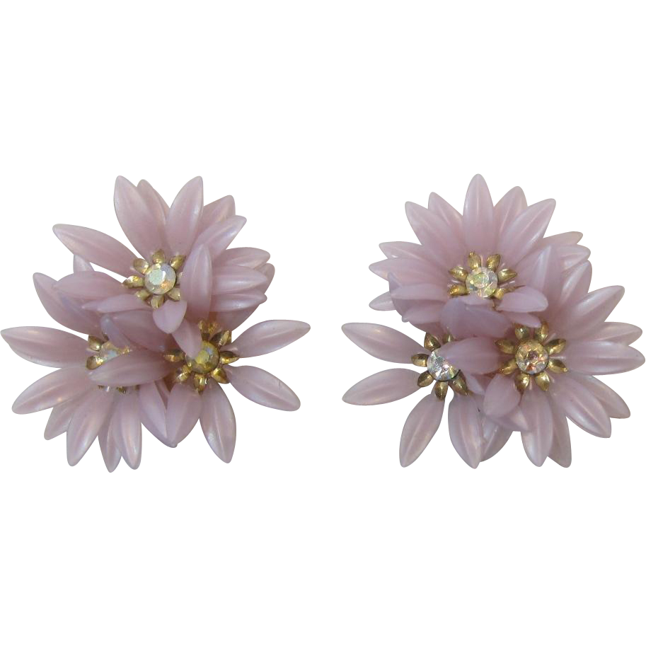 Coro Lavender Petal Three Flower Earrings