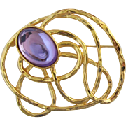 """Avon """"Golden Web"""" Brooch with Bright Orchid Purple Cabochons - Book Piece"""