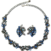 Lisner Necklace and Earrings with Blue and Aquamarine Rhinestones