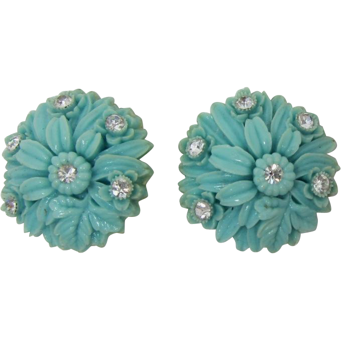 High-Domed Aqua Celluloid Flower Earrings