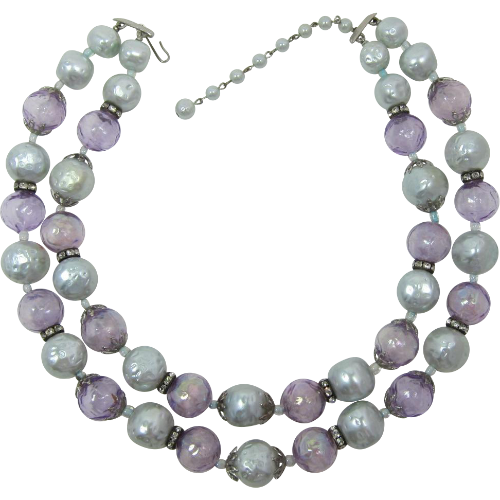 "Lisner Two Strand Necklace of Lavender ""Bubble"" Beads and Pale Blue Imitation Pearls"