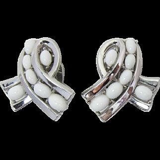 Trifari Mod Summer-time White Cabochon Earrings