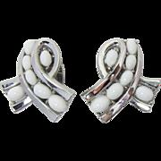 Trifari Summer-time White Cabochon Earrings