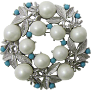 "Sarah Coventry ""Alaskan Summer"" Brooch with Imitation Pearls"
