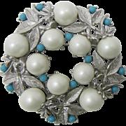 "Sarah Coventry ""Alaskan Summer"" Brooch with Imitation Pearls"