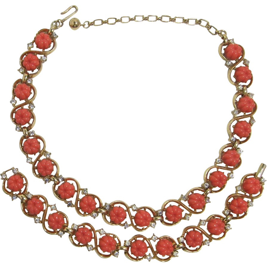 Trifari Faux Coral Flower and Rhinestone Necklace and Bracelet