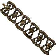 Wide Antique Gold-tone Bow Links Bracelet