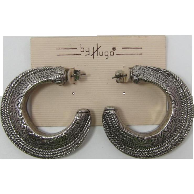 "1980's ""By Hugo"" Large Silver-tone Pierced Hoop Earrings"