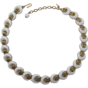 Trifari White Half-Moon and Gold-tone Link Necklace