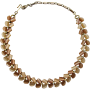Lisner Two-Tone Tan Moonglow Necklace with Pale Yellow Rhinestones