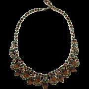 Smoky Topaz and Green Rhinestone Bib Necklace