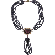 Victorian Revival Necklace with Purple Satin  Beads and Large Unfoiled Rhinestone