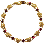 Avon Gold-tone Hearts and Red Rhinestone Bracelet