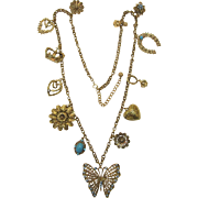 Long Gold-tone Chain with Hearts, Flowers and Lucky Horseshoe Charms