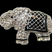 Wonderful Anne Klein Sparkling Elephant Brooch with Enameling