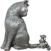 J.J. Jonette Jewelry Whimsical Cat and Mouse Pin
