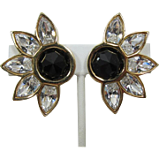 Beautiful Swarovski Flower Earrings with Clear and Black Rhinestones - LAST CHANCE
