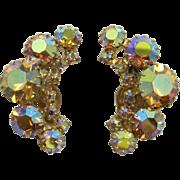 Sparkling Topaz Aurora Borealis Rhinestone Earrings