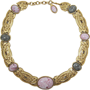 "Gorgeous Monet ""Woven"" Necklace with Pink and Grey Cabochons"