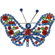 Exquisite Orange, Peridot and Blue Rhinestone Butterfly - Frank DeLizza's Archives